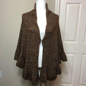 CAbi shawl wrap poncho style #757 brown tweed